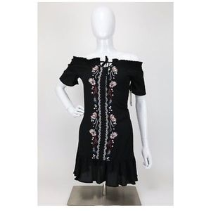 Adorable Black Floral Swing Dress